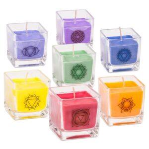 Duftprodukte, Kerzen + Kerzenhalter, Phoenix Set – 7 ökologischen Chakra Rapswachs-Duftkerzen - Meine Spiritualität