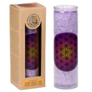 Blume des Lebens, Kerzen + Kerzenhalter, Phoenix Stearinkerze Blume des Lebens violett Lavendel, Mandarine, Vanille - Meine Spiritualität