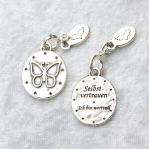 Anhänger, Engel, Geschenke, Meditation, Schmuck, Spiritualität I FEEL GOOD – Schmetterling – Selbstvertrauen… Ich bin wertvoll – Anhänger versilbert - Meine Spiritualität