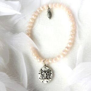 Armbänder, Geschenke, Schmuck I FEEL GOOD – Selbstvertrauen – Kristall-Armband perlmutt (I) – versilbert Schmetterling - Meine Spiritualität