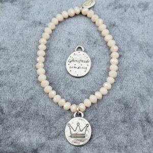 Armbänder, Geschenke, Schmuck I FEEL GOOD – Lebensfreude – Kristall-Armband (I) – versilbert - Krone - Ich bin glücklich - meine Spiritualität