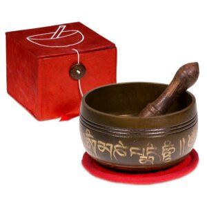 """Klangschale """"OM"""" Geschenkset rot - Meditation - Meine Spiritualität - rote Verpackung - NE0292"""