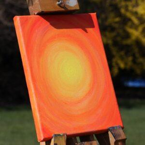 """Energie-Bild – Energie-Spirale """"Entspannung"""" in den Farben gelb-orange-rot"""